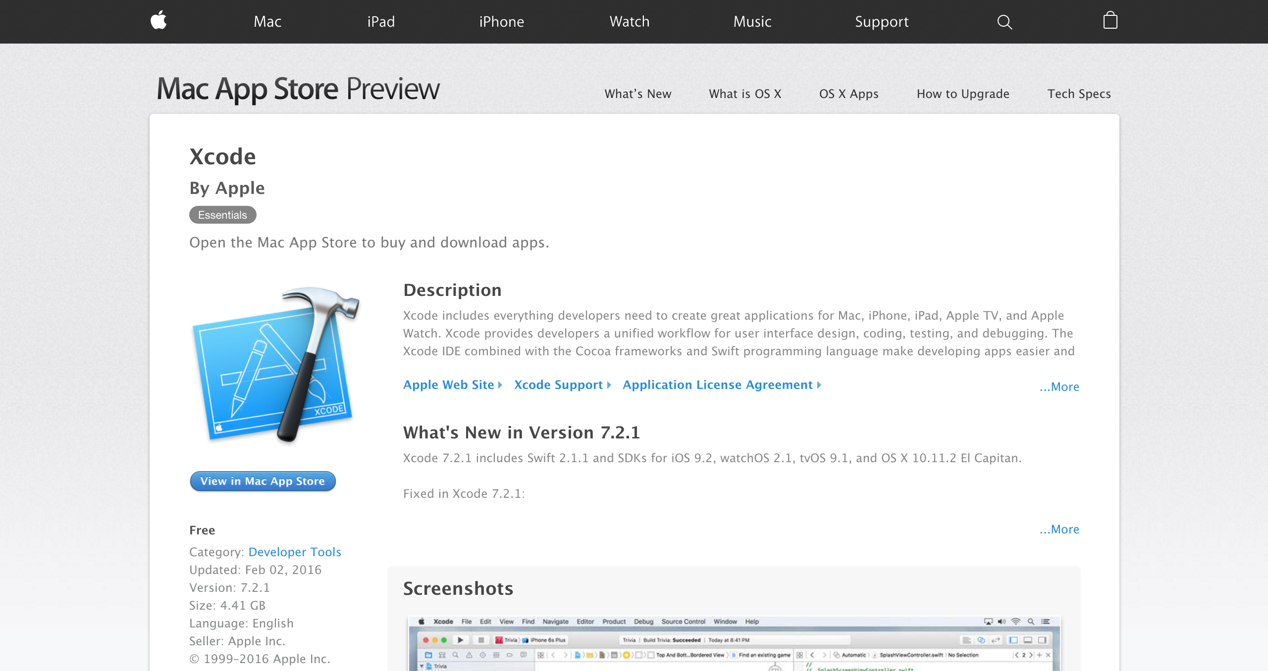 Xcode on the Mac App Store